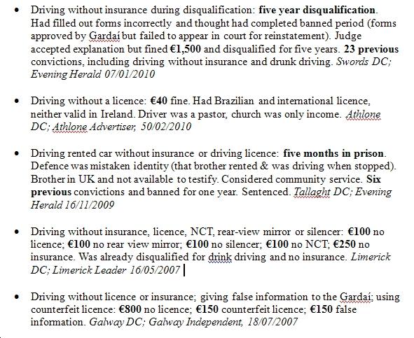 Excerpt from penalties list
